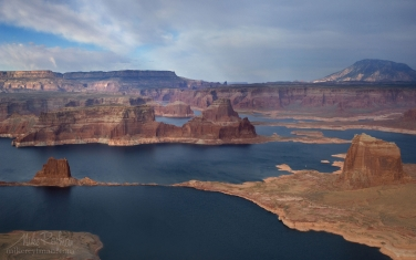 Padre-and-Dominguez-Buttes-and-Navajo-Mountain.-Glen-Canyon-NRA,-Lake-Powell,-Utah/Arizona,-USA.-Aerial