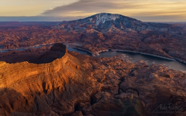 Colorado-River-and-Navajo-Mountain.-Lake-Powell,-Glen-Canyon-NRA.-Uta/Arizona,-USA.-Aerial
