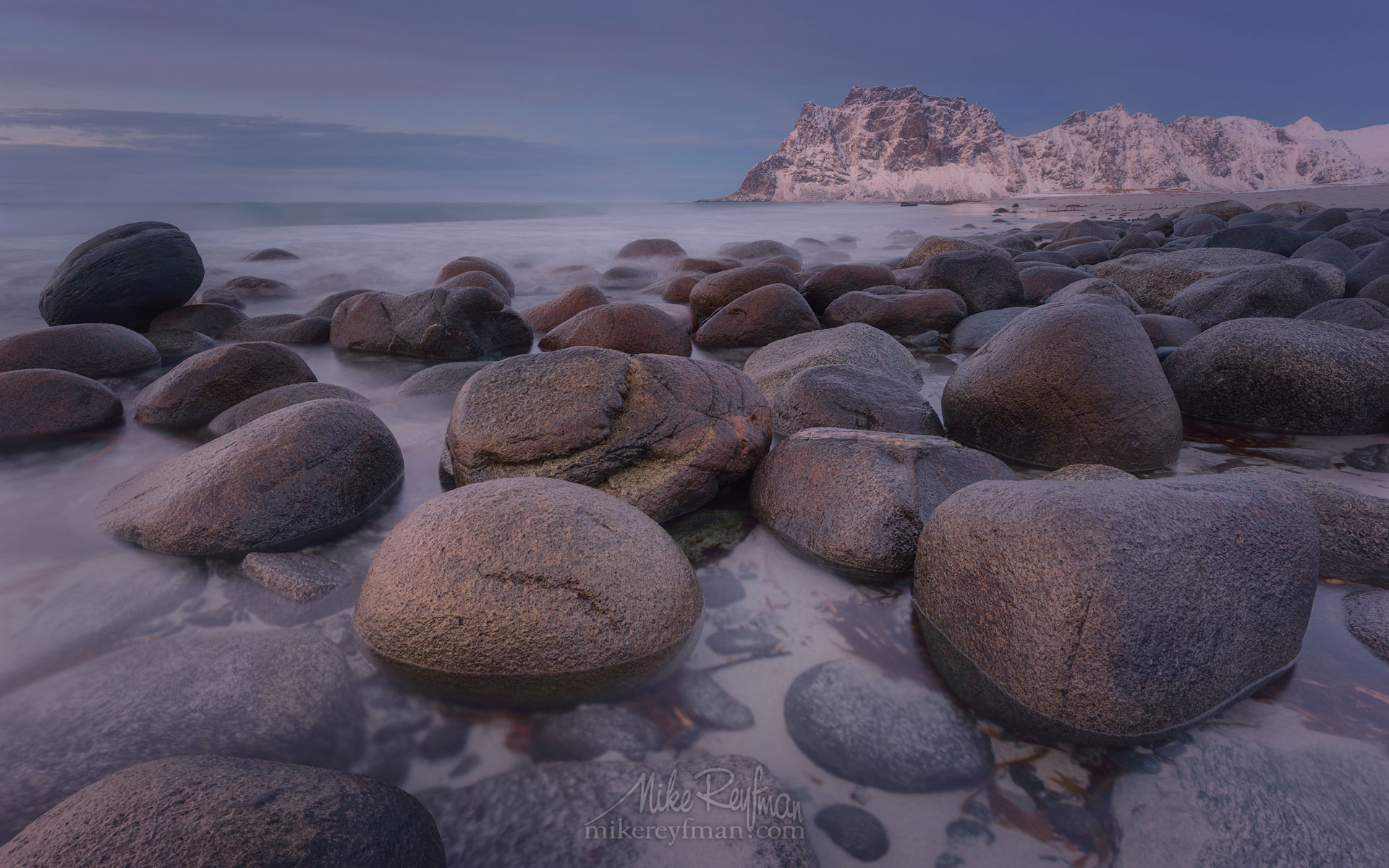 Round boulders on Utakleiv beach after sunset. Vestvagoy, Lofoten Islands, Norway LF-MRD1E2172 - Lofoten Archipelago in Winter, Arctic Norway - Mike Reyfman Photography