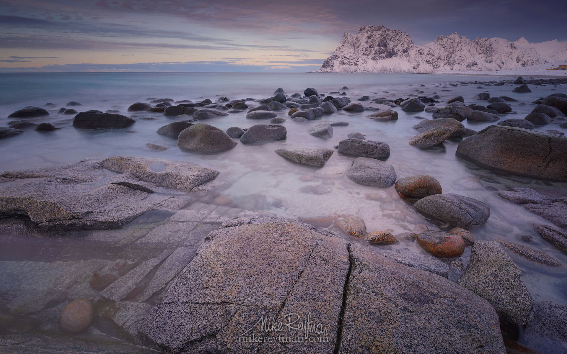 Boulders on Utakleiv beach after sunset. Vestvagoy, Lofoten Islands, Norway LF-MRD1E2352 - Lofoten Archipelago in Winter, Arctic Norway - Mike Reyfman Photography