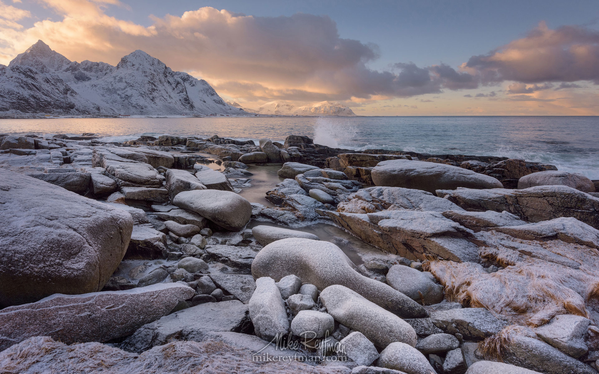 Vareid Shoreline and Jagged snow capped peaks of Flakstad Fjord before sunset. Vareid, Flakstadoya island, Lofoten archipelago, Nordland, Norway. LF-MRD1E0395 - Lofoten Archipelago in Winter, Arctic Norway - Mike Reyfman Photography