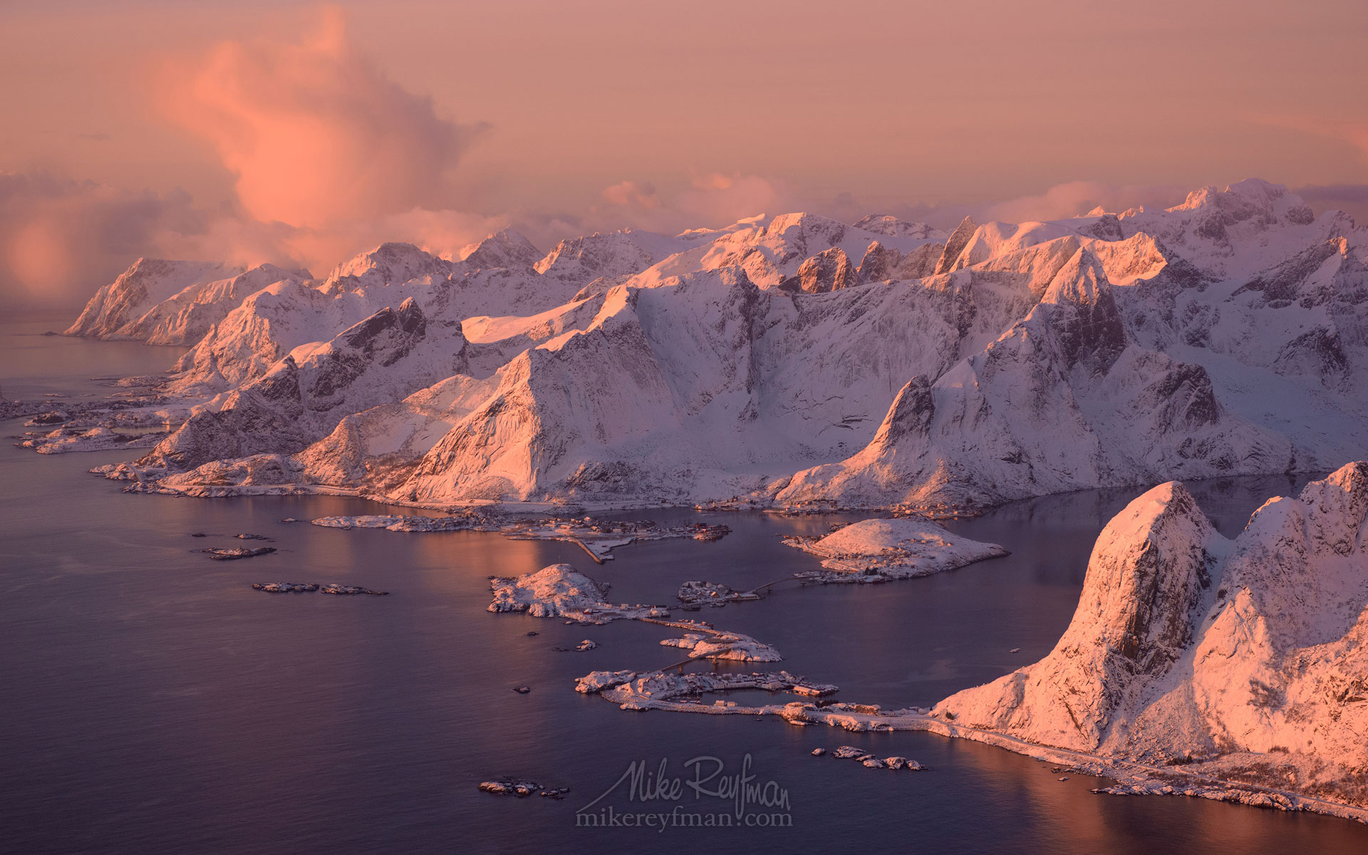 Aerial view of Lofoten archipelago and fishing village of Reine at sunrise. Moskenes, Lofoten archipelago, Norway. LF-MRD1E1458 - Lofoten Archipelago in Winter, Arctic Norway - Mike Reyfman Photography