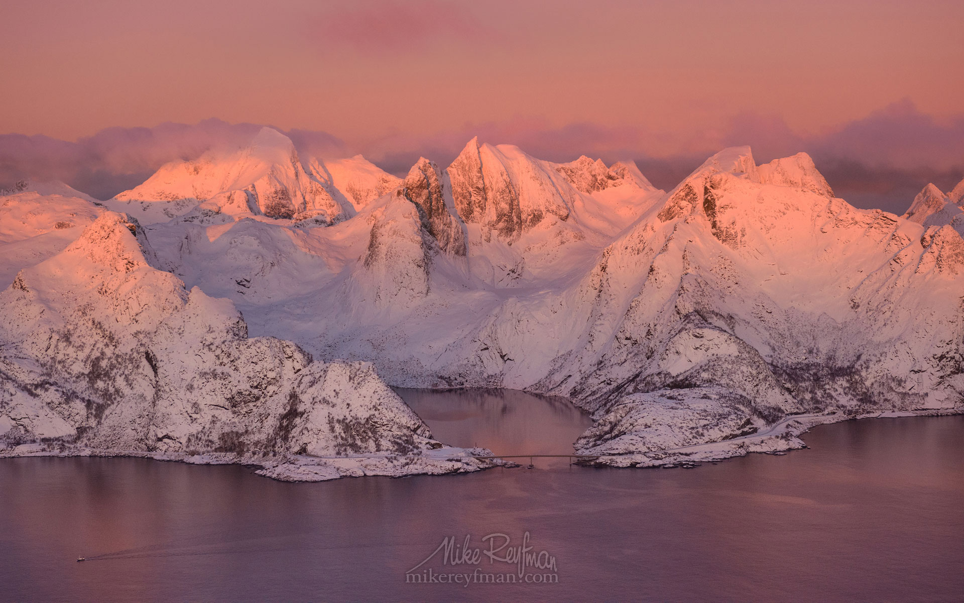 Aerial view of Lofoten archipelago at sunrise. Moskenesoya Island, Lofoten archipelago, Norway. LF-MRD1E1283-2 - Lofoten Archipelago in Winter, Arctic Norway - Mike Reyfman Photography