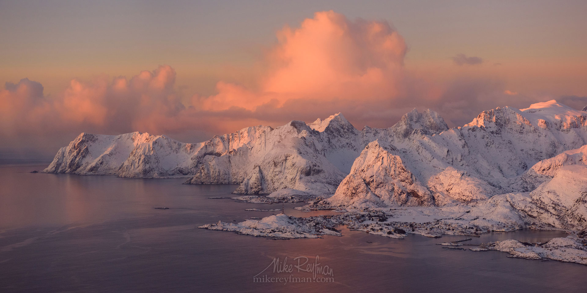 Aerial panoramic view of Lofoten archipelago and fishing village of Reine at sunrise. Moskenes, Lofoten archipelago, Norway. LF-MRD1E1273-71_Pano-2x1 - Lofoten Archipelago in Winter, Arctic Norway - Mike Reyfman Photography