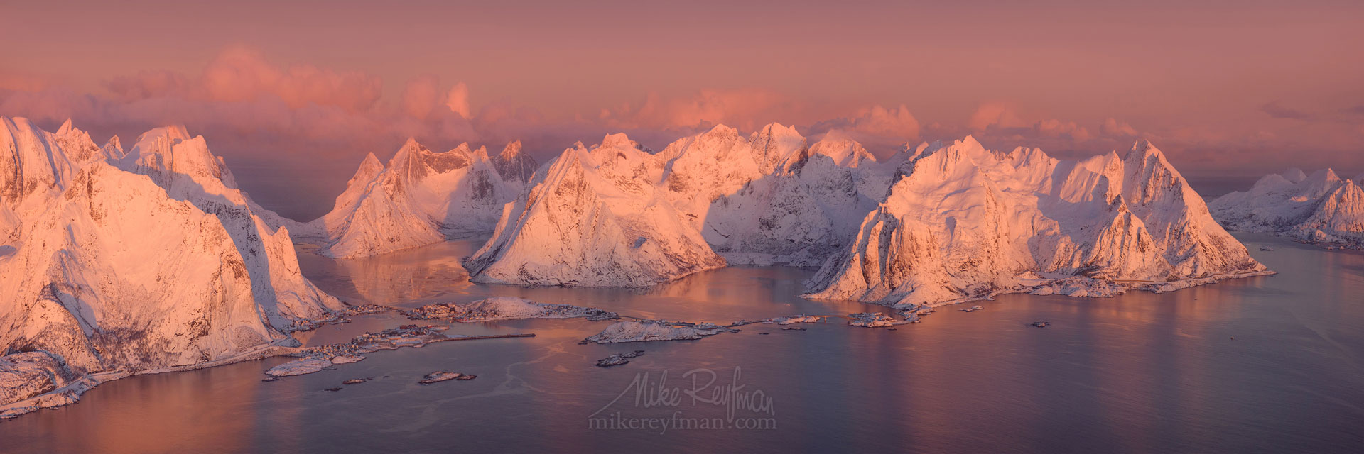 Aerial panoramic view of Lofoten archipelago and fishing village of Reine at sunrise. Moskenes, Lofoten archipelago, Norway. LF-MRD1E1365-68_Pano-3x1 - Lofoten Archipelago in Winter, Arctic Norway - Mike Reyfman Photography