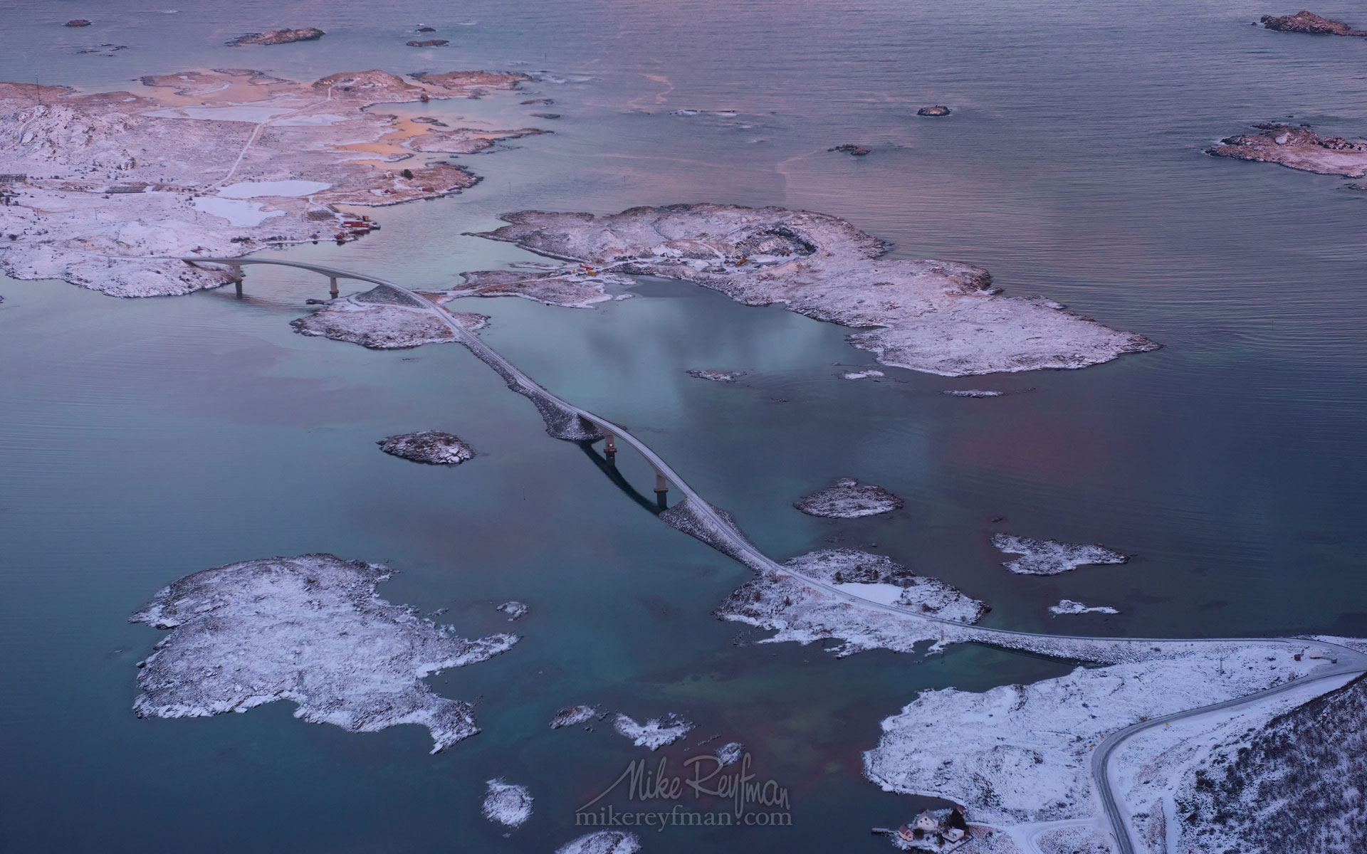 Fredvang Bridges. Aerial view of Lofoten archipelago at sunrise. Moskenes, Lofoten archipelago, Norway. LF-MRD1E1580 - Lofoten Archipelago in Winter, Arctic Norway - Mike Reyfman Photography