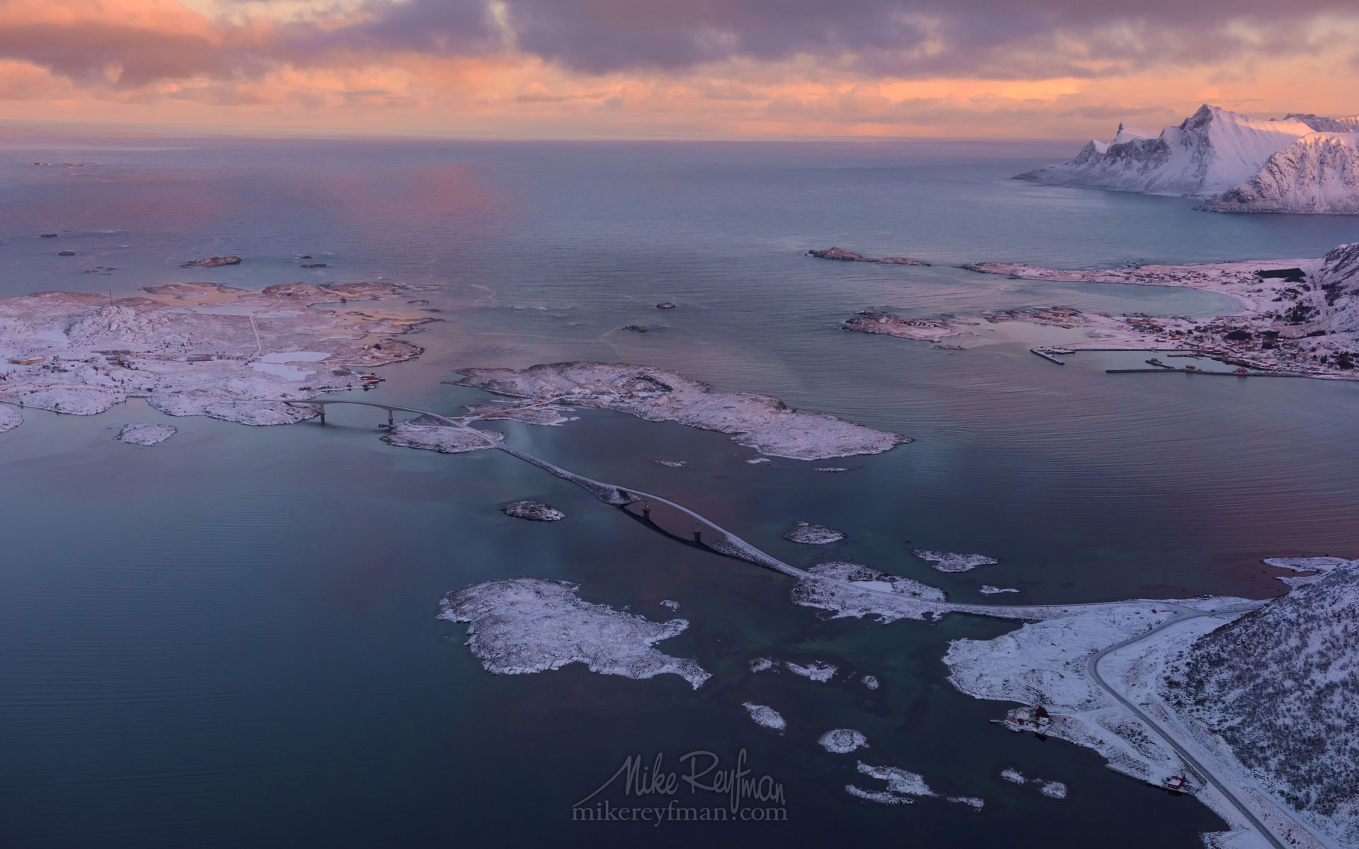 Fredvang Bridges. Aerial view of Lofoten archipelago at sunrise. Moskenes, Lofoten archipelago, Norway. LF-MRD1E1584 - Lofoten Archipelago in Winter, Arctic Norway - Mike Reyfman Photography