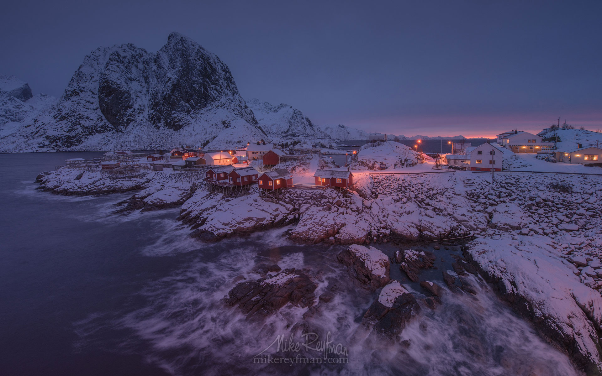 Fishing huts (rorbuer) of the Hamnoy with Lilandstinden mountain on the beckground. Moskenes, Lofoten archipelago, Norway. LF-MRD1E1854 - Lofoten Archipelago in Winter, Arctic Norway - Mike Reyfman Photography