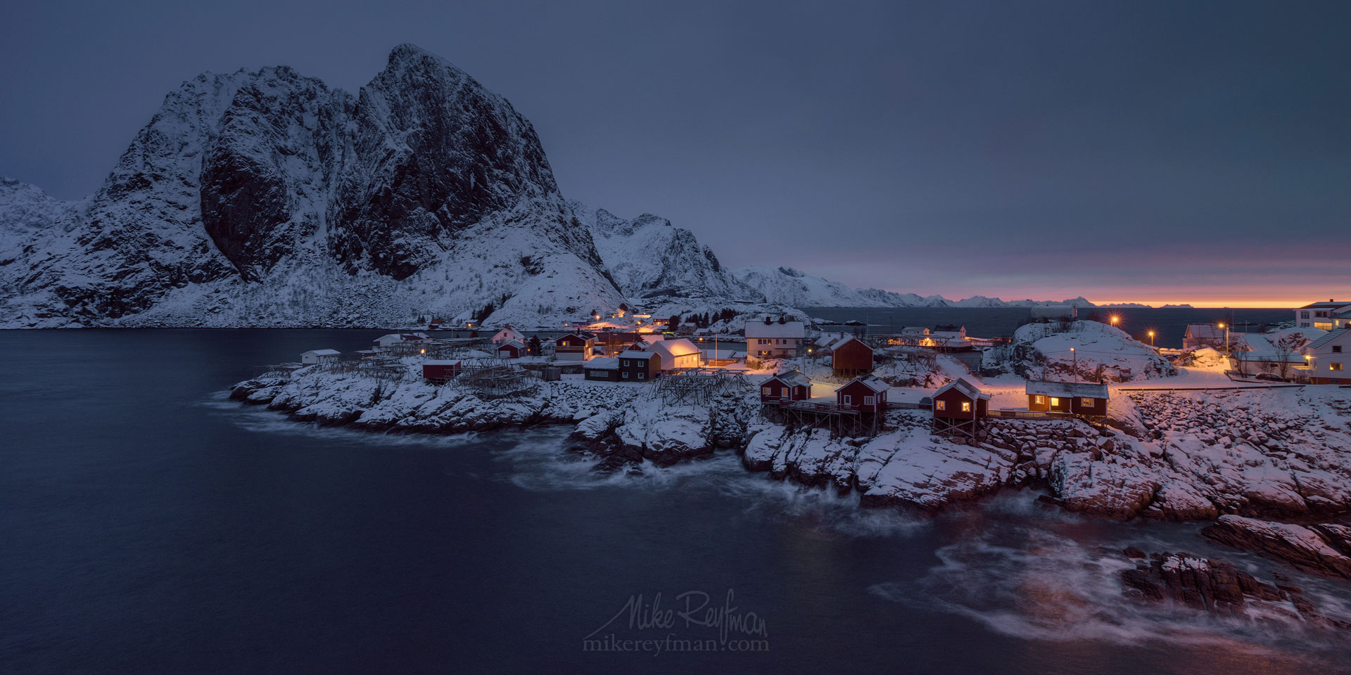 Fishing huts (rorbuer) of the Hamnoy with Lilandstinden mountain on the beckground. Moskenes, Lofoten archipelago, Norway. LF-MRD1E1851_Pano-2x1 - Lofoten Archipelago in Winter, Arctic Norway - Mike Reyfman Photography