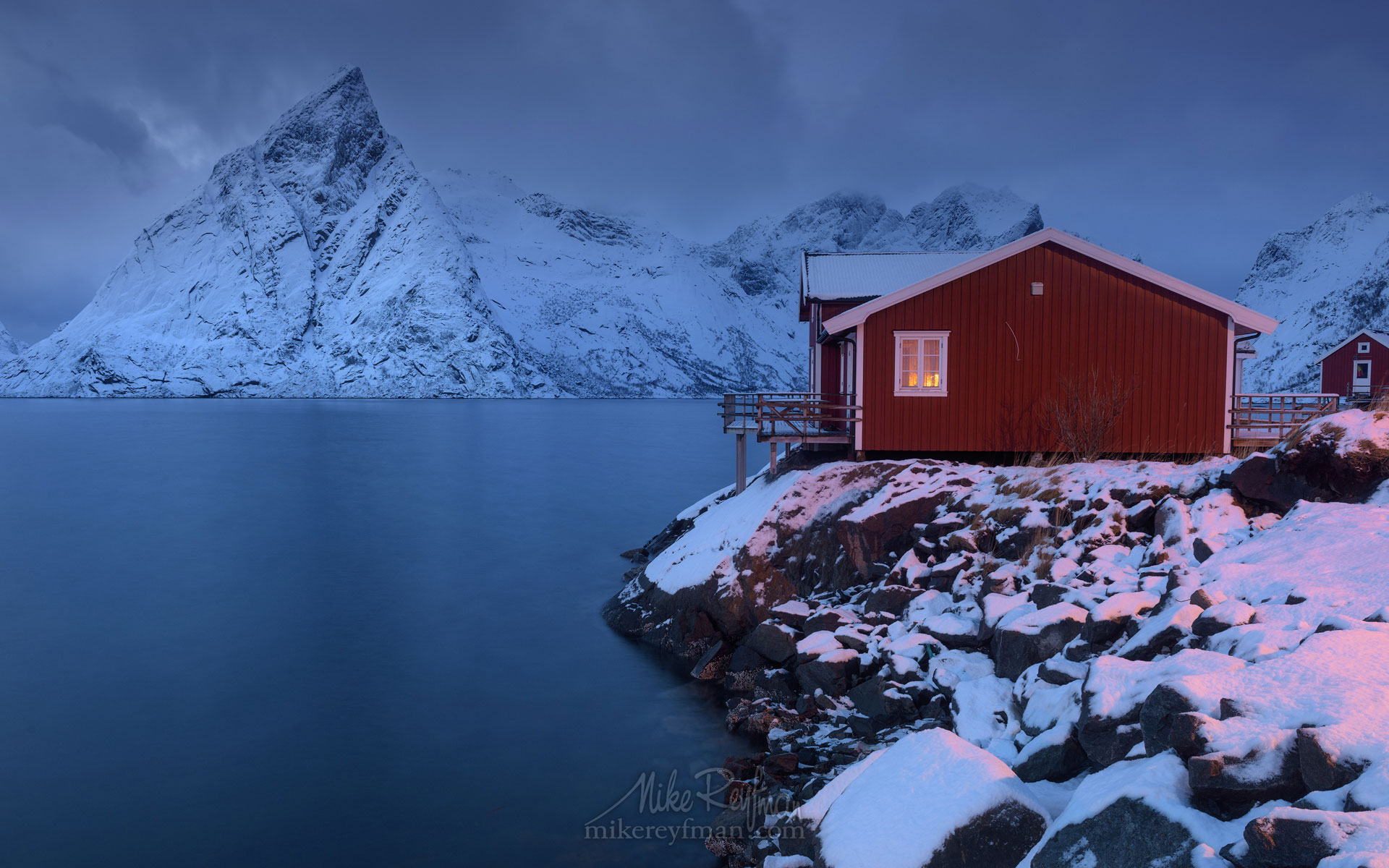 Toppoy Rorbuer and Olstinden mountain peak. Reine, Moskenes, Lofoten archipelago, Norway LF-MRD1E0973 - Lofoten Archipelago in Winter, Arctic Norway - Mike Reyfman Photography