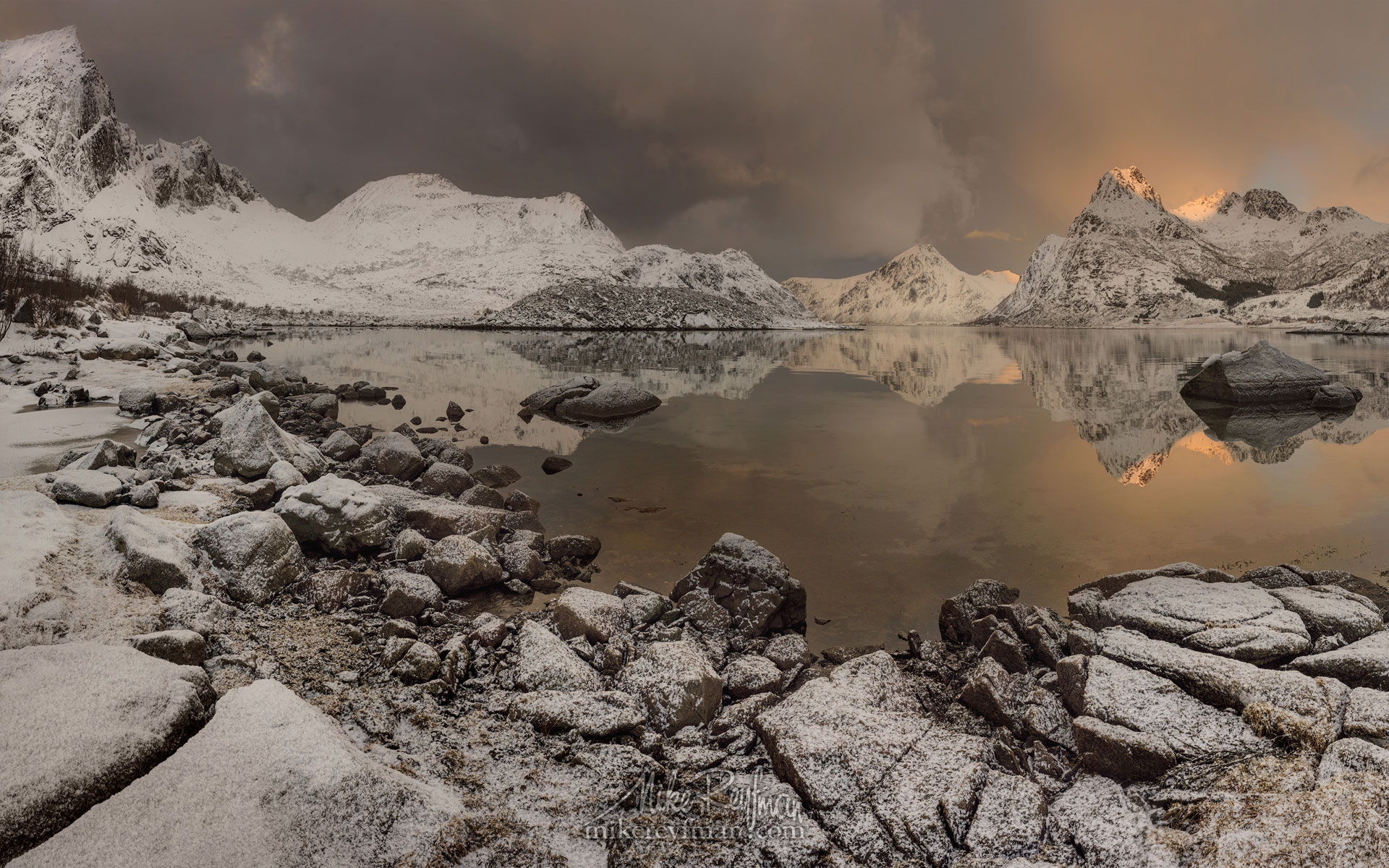 Sunset at Flakstad fjord, Flakstadøya, Lofoten archipelago, Norway LF-MRD1E0503-9 - Lofoten Archipelago in Winter, Arctic Norway - Mike Reyfman Photography