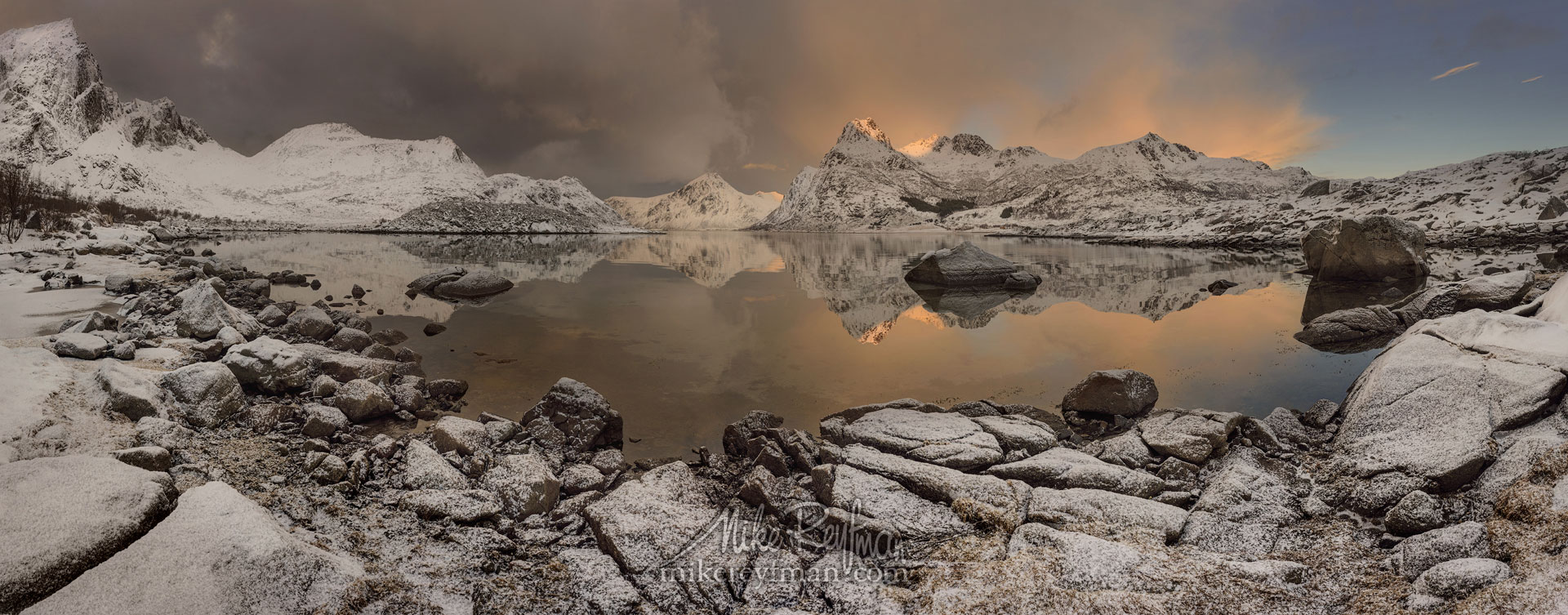 Sunset at Flakstad fjord, Flakstadøya, Lofoten archipelago, Norway LF-MRD1E0503-9_Pano-2.55x1 - Lofoten Archipelago in Winter, Arctic Norway - Mike Reyfman Photography