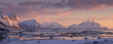 LF-MRD1E0311-17_Pano-2.55x1 Skifjorden sunrise. Skifjorden, Vestvagoy, Lofoten archipelago, Nordland, Norway.