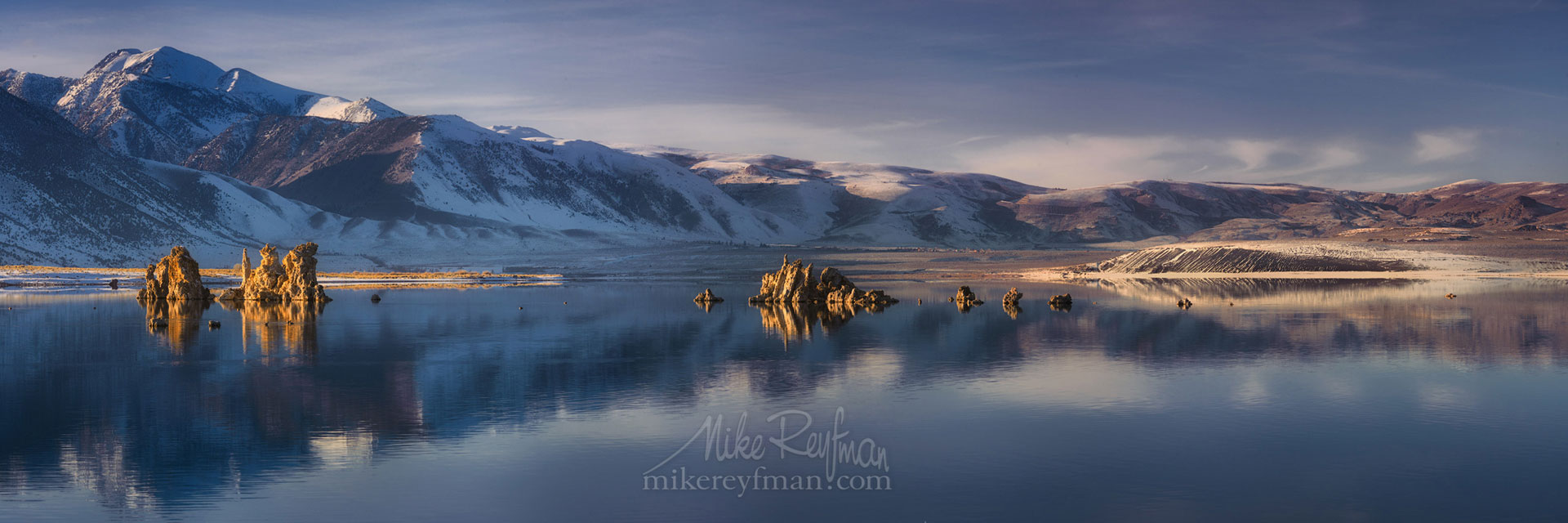 Mono Lake, Tufa State Natural Reserve, Eastern Sierra, California, USA ML1-MRN3X0606-08-Pano - Mono Lake Tufa State Natural Reserve, Eastern Sierra, California - Mike Reyfman Photography