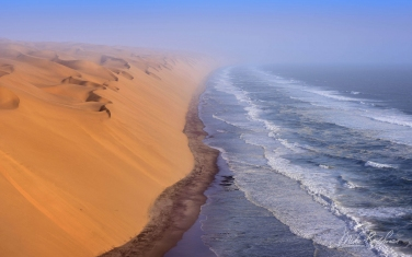 Shipwrecks and Endless Dunes of Namib Skeleton Coast NP, Dense ocean fogs of the Benguela Current, Cape Fur seals, and Walvis Bay Salt Works. Namibia.  - Landscape, Nature and Cityscape Photography - Mike Reyfman Photography - Fine Art Prints, Stock Images, Nature Abstracts