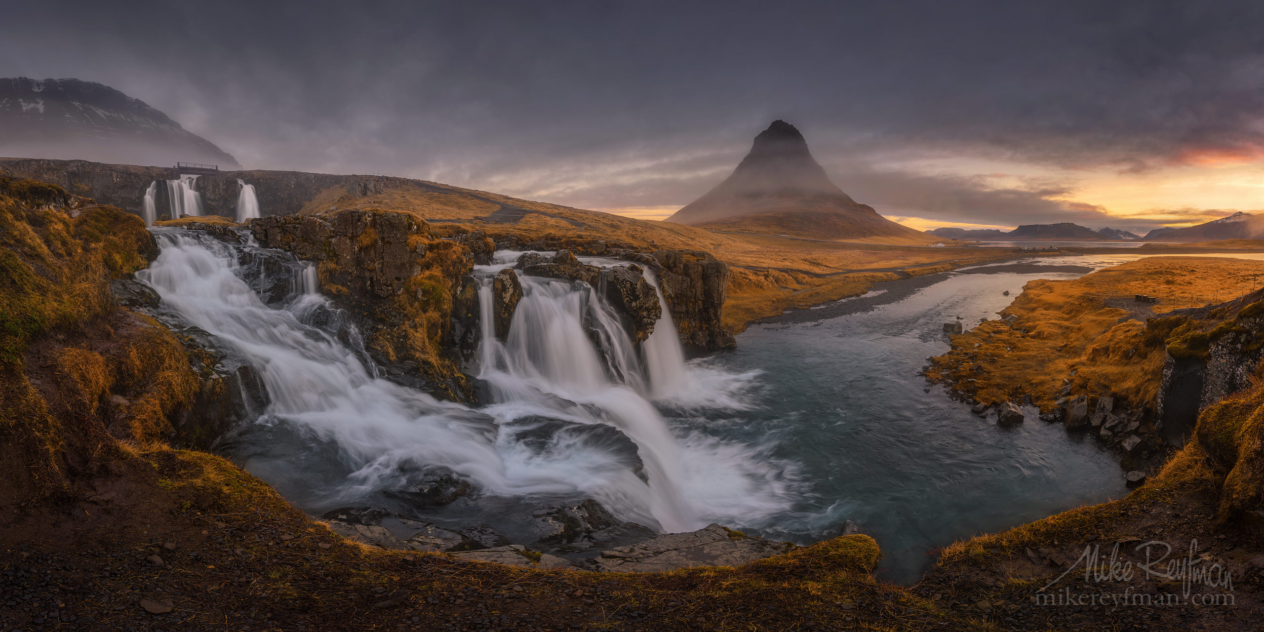 Church Mountain Falls. Well-situated waterfall near the distinctive Kirkjufell mountain. P12-M10P4485-Pano_1x2 - Selected panoramic images with 2:1 aspect ratio - Mike Reyfman Photography