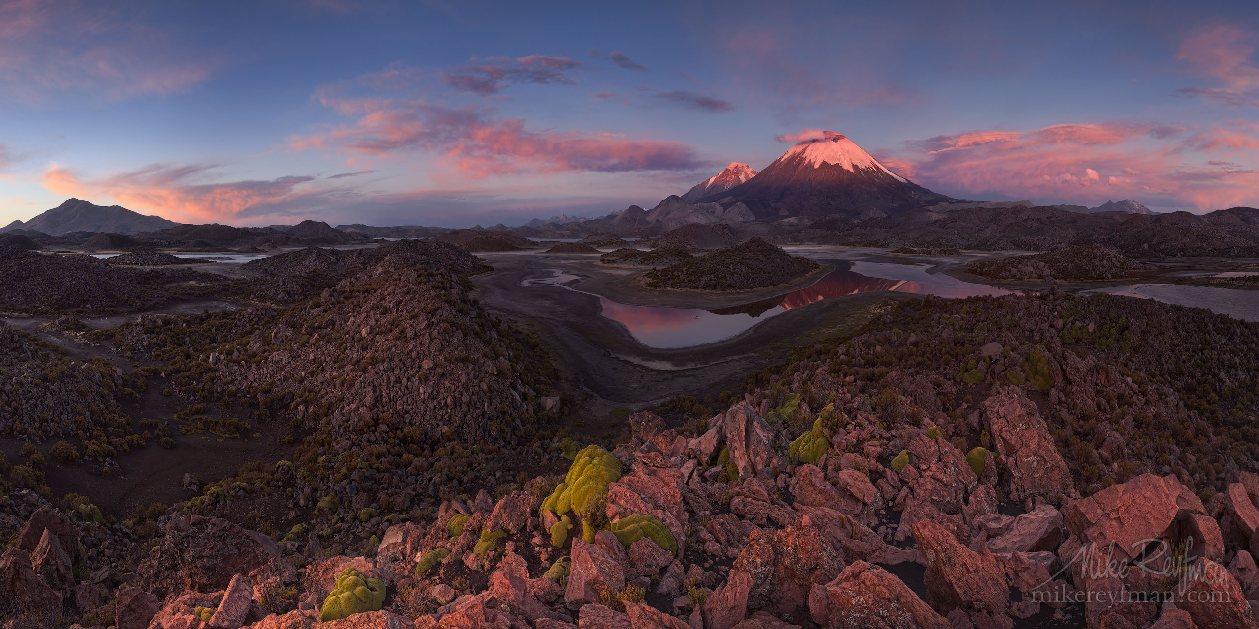 Nevados de Payachata (Two Brothers). Parinacota (Flamingo in local Aymara language) and Pomerape (Puma in Aymara) Volcanos with Cotacotani Lagoons on the foreground. Lauca Biosphere Reserve, AltiPlano, Chile. P12-MRAIR3242-60-Pano - Selected panoramic images with 2:1 aspect ratio - Mike Reyfman Photography
