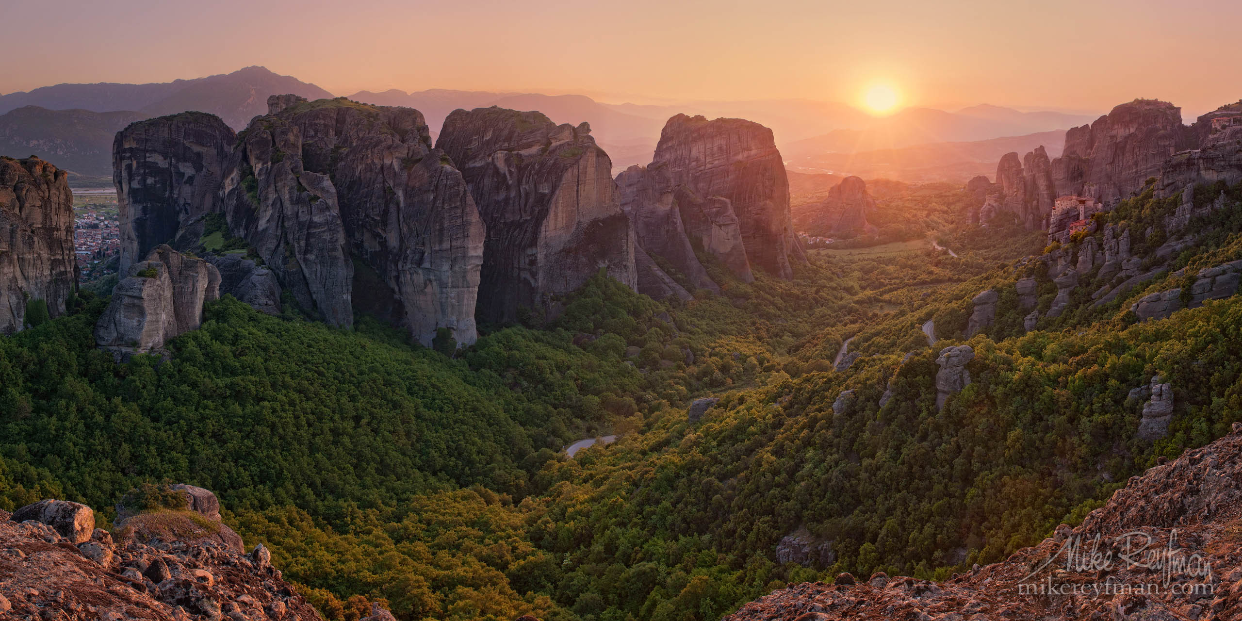 Roussanou Nunnery at sunset. Meteora Monasteries, Thessaly, Greece P12-MRAIR4886-935-Pano - Selected panoramic images with 2:1 aspect ratio - Mike Reyfman Photography