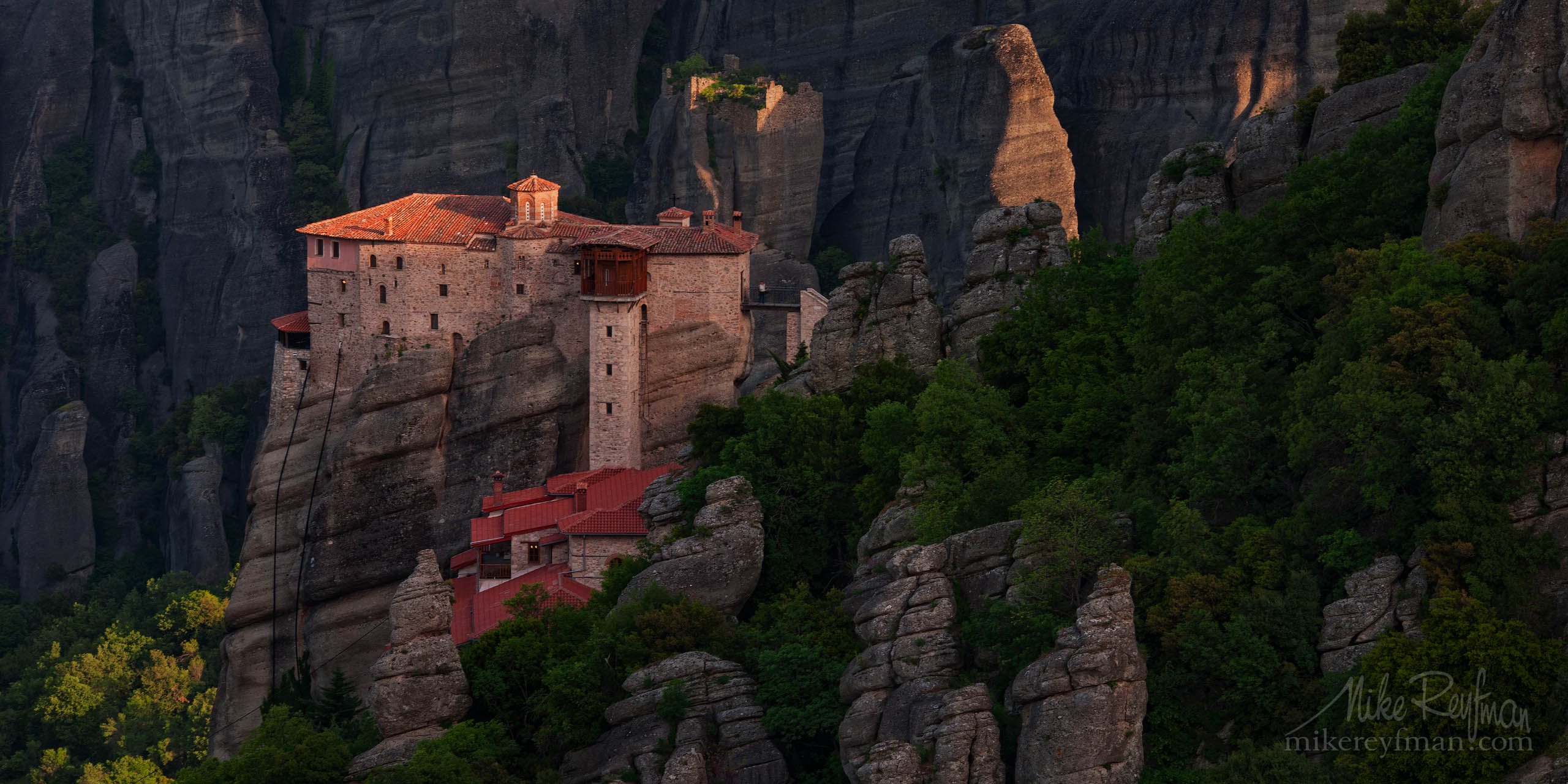 Roussanou Nunnery at sunrise. Meteora, Thessaly, Greece P12-MRAIR5188 - Selected panoramic images with 2:1 aspect ratio - Mike Reyfman Photography