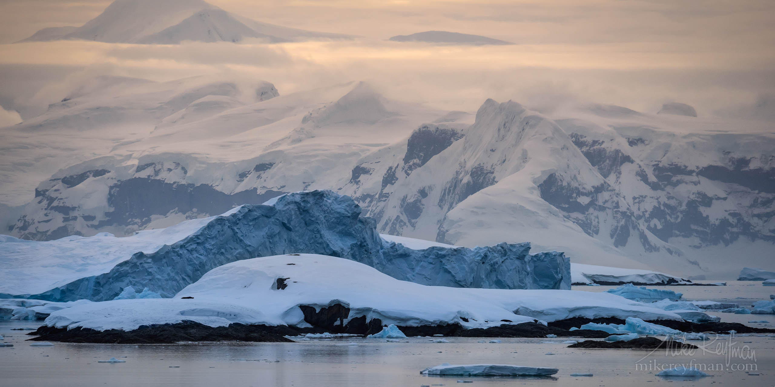 Moody evening in Gerlarhe Strait -a channel separating the Palmer Archipelago from the Antarctic Peninsula. P12-MRD1A1971-72 - Selected panoramic images with 2:1 aspect ratio - Mike Reyfman Photography