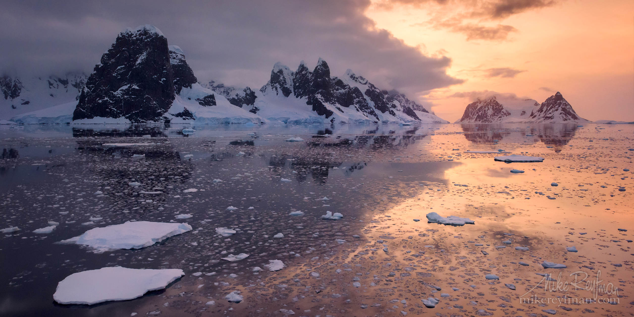 Tranquil evening in Lemaire Channel (the strait off Antarctica between Kiev Peninsula and Booth Island), Antarctic P12-MRD1A3334 - Selected panoramic images with 2:1 aspect ratio - Mike Reyfman Photography