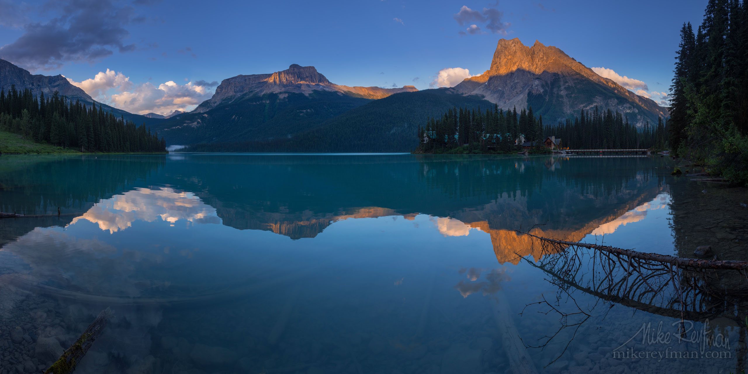 Emerald Evening. Emerald Lake. Yoho National Park, British Columbia, Canada P12-MRD1C7772-80 - Selected panoramic images with 2:1 aspect ratio - Mike Reyfman Photography