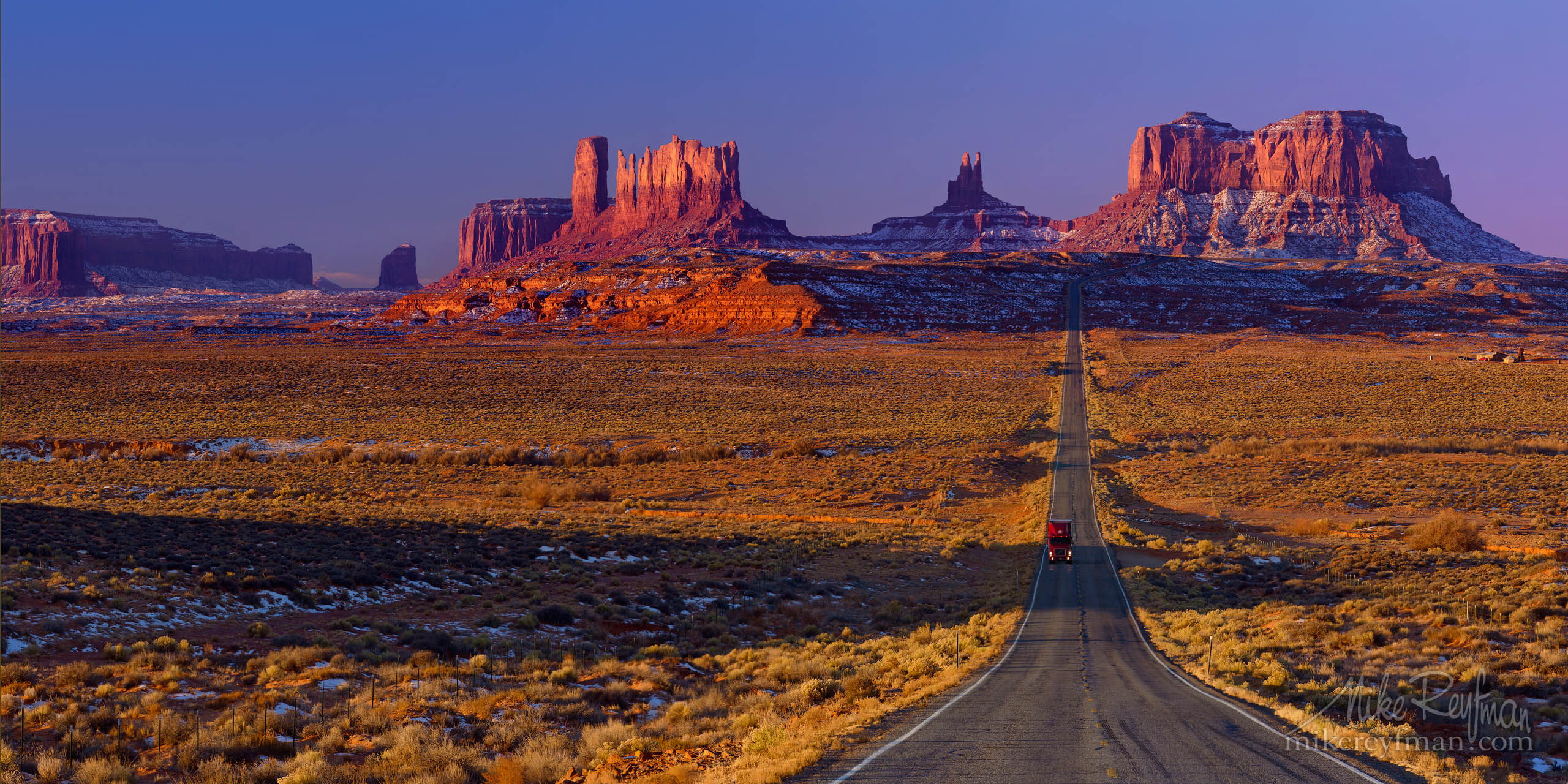 The classic road picture from US 163 approaching Monument Valley Pass from the north. Utah/Arizona border, USA P12-MRD8A6960-69-Pano - Selected panoramic images with 2:1 aspect ratio - Mike Reyfman Photography