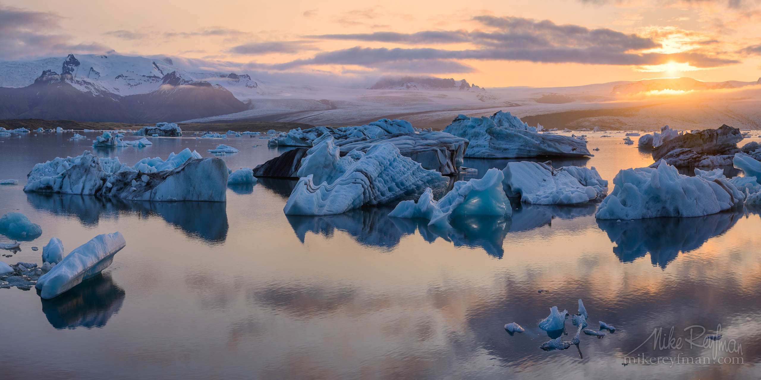 Sunset at Jokulsarlon Glacial Lagoon, Iceland P12-MRD8B2924-60-Pano - Selected panoramic images with 2:1 aspect ratio - Mike Reyfman Photography