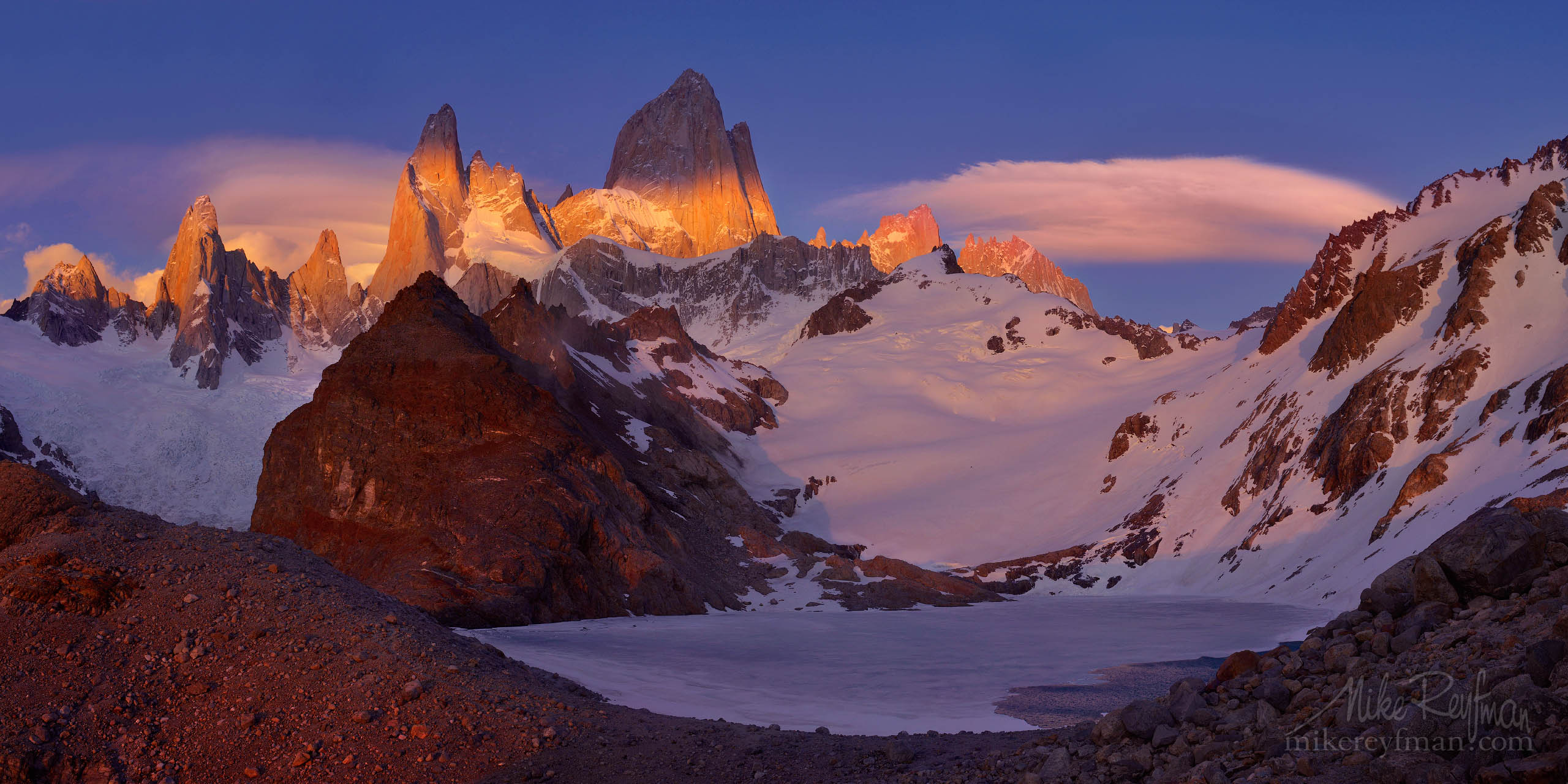 Windy sunrise at Laguna de Los Tres. Mount Fitzroy massif. Andes. Los Glaciares National Park, Patagonia, Argentina. P12-MRD8C4532-33-Pano - Selected panoramic images with 2:1 aspect ratio - Mike Reyfman Photography