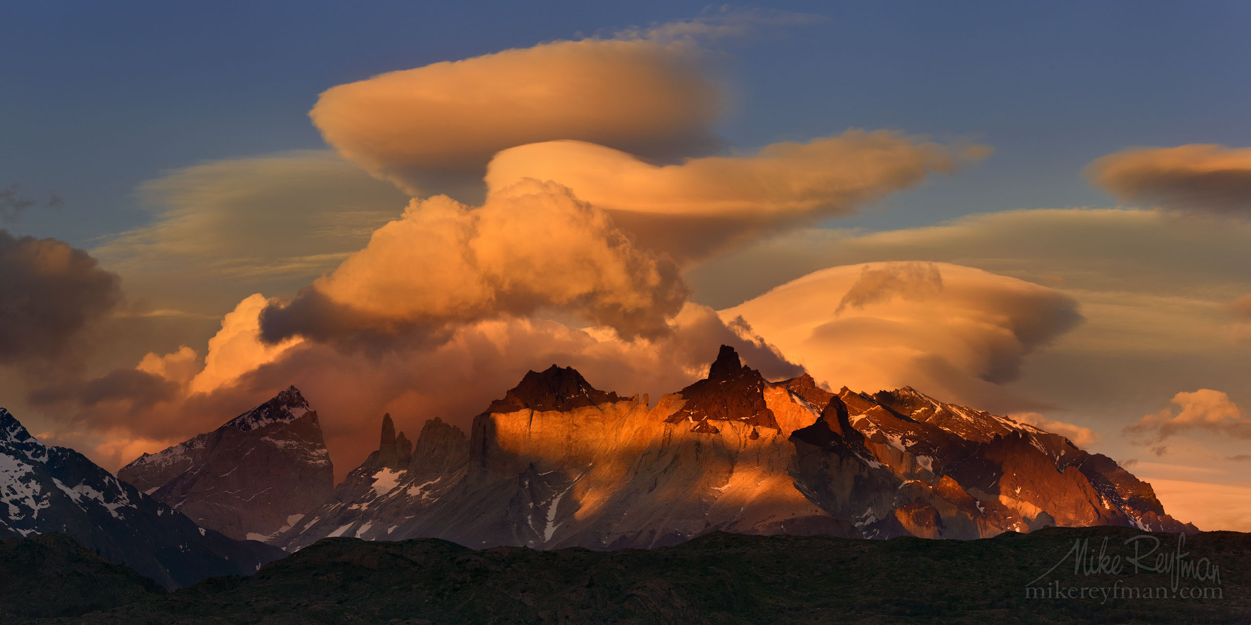 Crazy clouds over Cordillera del Paine. Torres del Paine National Park, Ultima Esperanza Province, Magallanes and Antartica Chilena Region XII, Patagonia, Chile. P12-MRD8C7712-16-Pano - Selected panoramic images with 2:1 aspect ratio - Mike Reyfman Photography