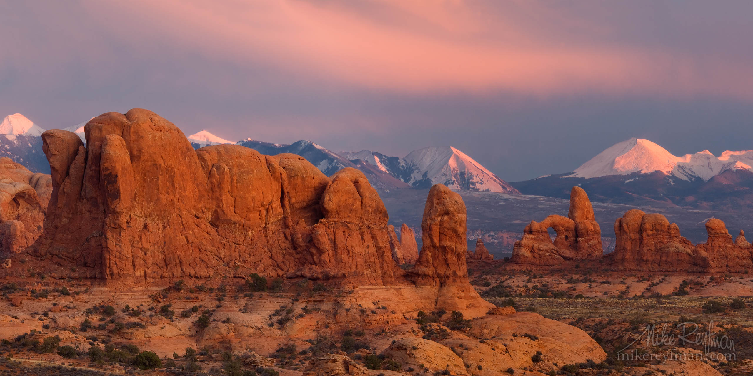 Stormy sunset over Windows Section and La Salt Mountains. Arches National Park, Utah, USA P12-MR15656-60-Pano - Selected panoramic images with 2:1 aspect ratio - Mike Reyfman Photography
