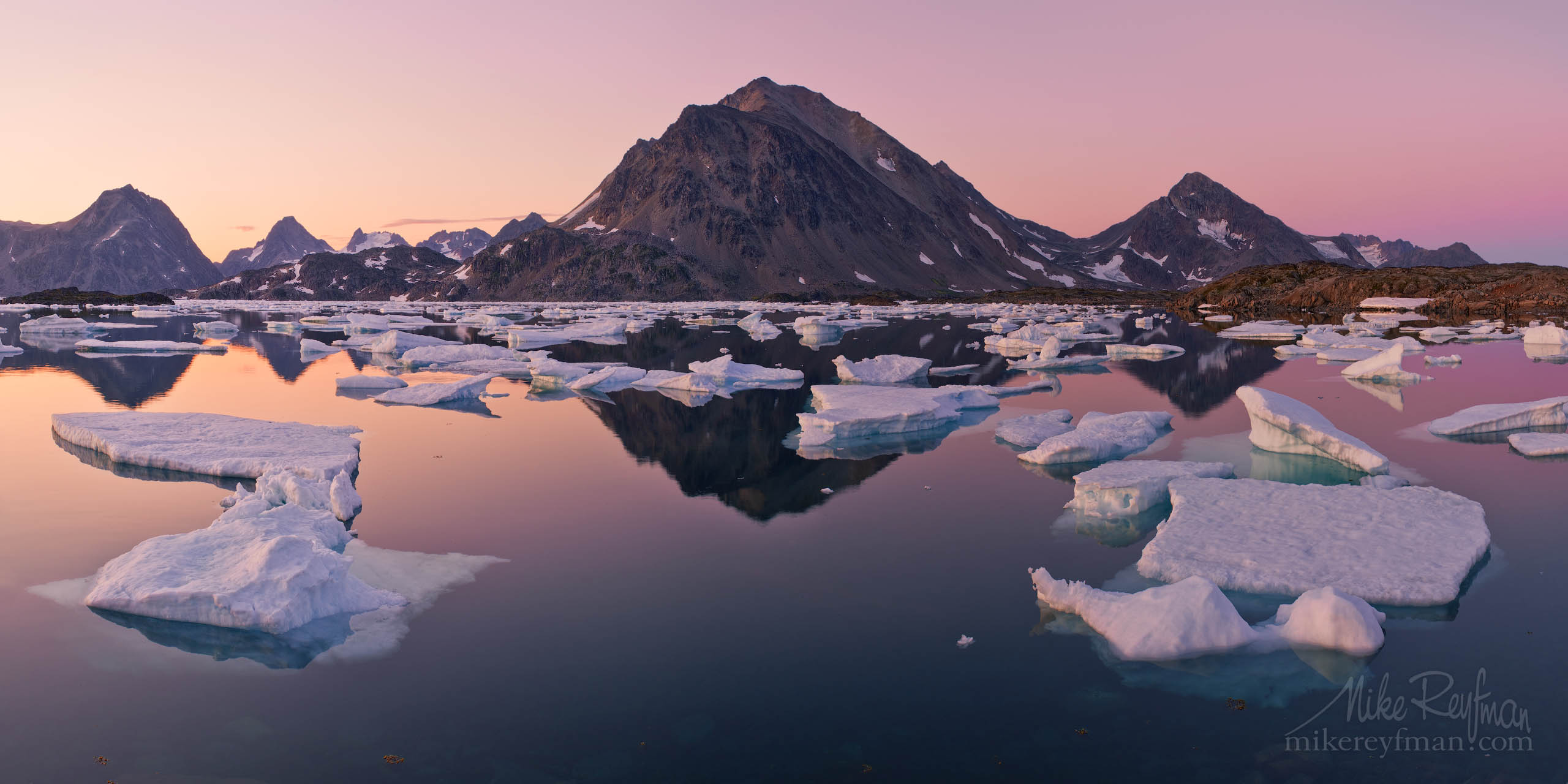 Tranquility. Dusk at Torsuut Tunoq sound. Kulusuk Island, Southeastern Greenland. P12-MRP3X4691-95-Pano - Selected panoramic images with 2:1 aspect ratio - Mike Reyfman Photography