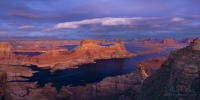 P12-MRALS0001-5-Pano Alstrom Point. Gunsight Butte and Padre bay in Twilight. Lake Powell. Glen Canyon NAR, Utah/Arizona, USA