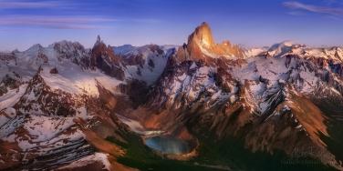 P12-MRD8C4714-18-Pano Unseen Cordilleras. Lago Torre, Cerro Torre and Mount Fitzroy massifs. Andes, South America. Parque Nacional Los Glaciares, Patagonia, Argentina. Panoramic aerial capture.