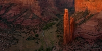 P12-MRO3X4776 Spider Rock. A free standing rock that rises 800 feet from the canyon floor in Canyon de Chelly in Arizona. It holds sacred and historical significance to Navajo tribe.