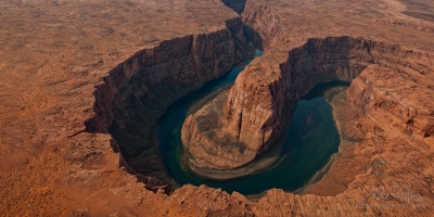 Horseshoe-Bend-of-Colorado-River,-Arizona,-USA.-Aerial.