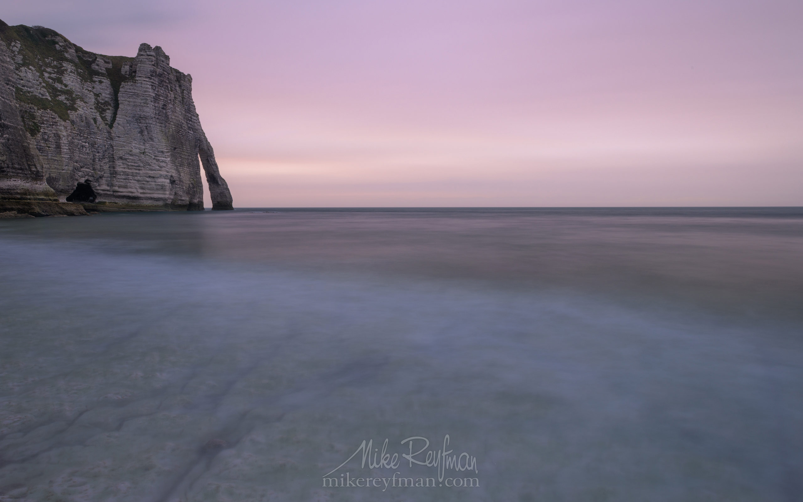 Arch Porte d'Aval at sunset. Cote d'Albatre – The Alabaster Coast. Ertretat, Normandy, France ET1-MR50A0509 - White Chalk Cliffs and Arches of Alabaster Coast. Etretat, Upper Normandy, France - Mike Reyfman Photography