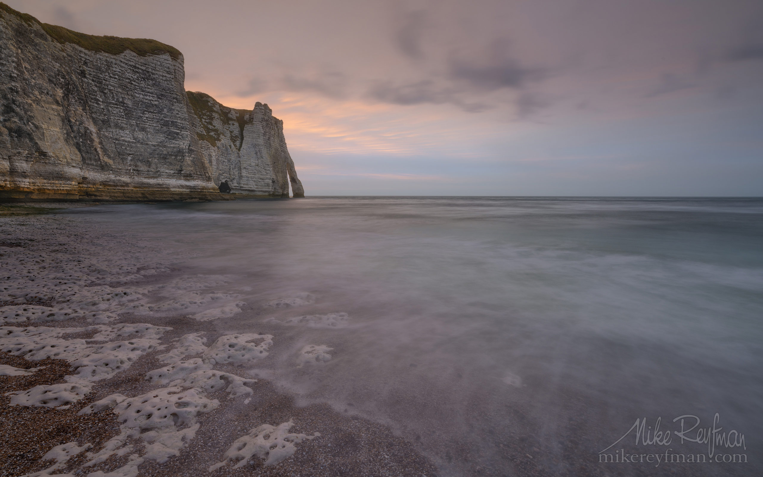 Arch Porte d'Aval at sunset. Cote d'Albatre – The Alabaster Coast. Ertretat, Normandy, France ET1-MR50A0516 - White Chalk Cliffs and Arches of Alabaster Coast. Etretat, Upper Normandy, France - Mike Reyfman Photography