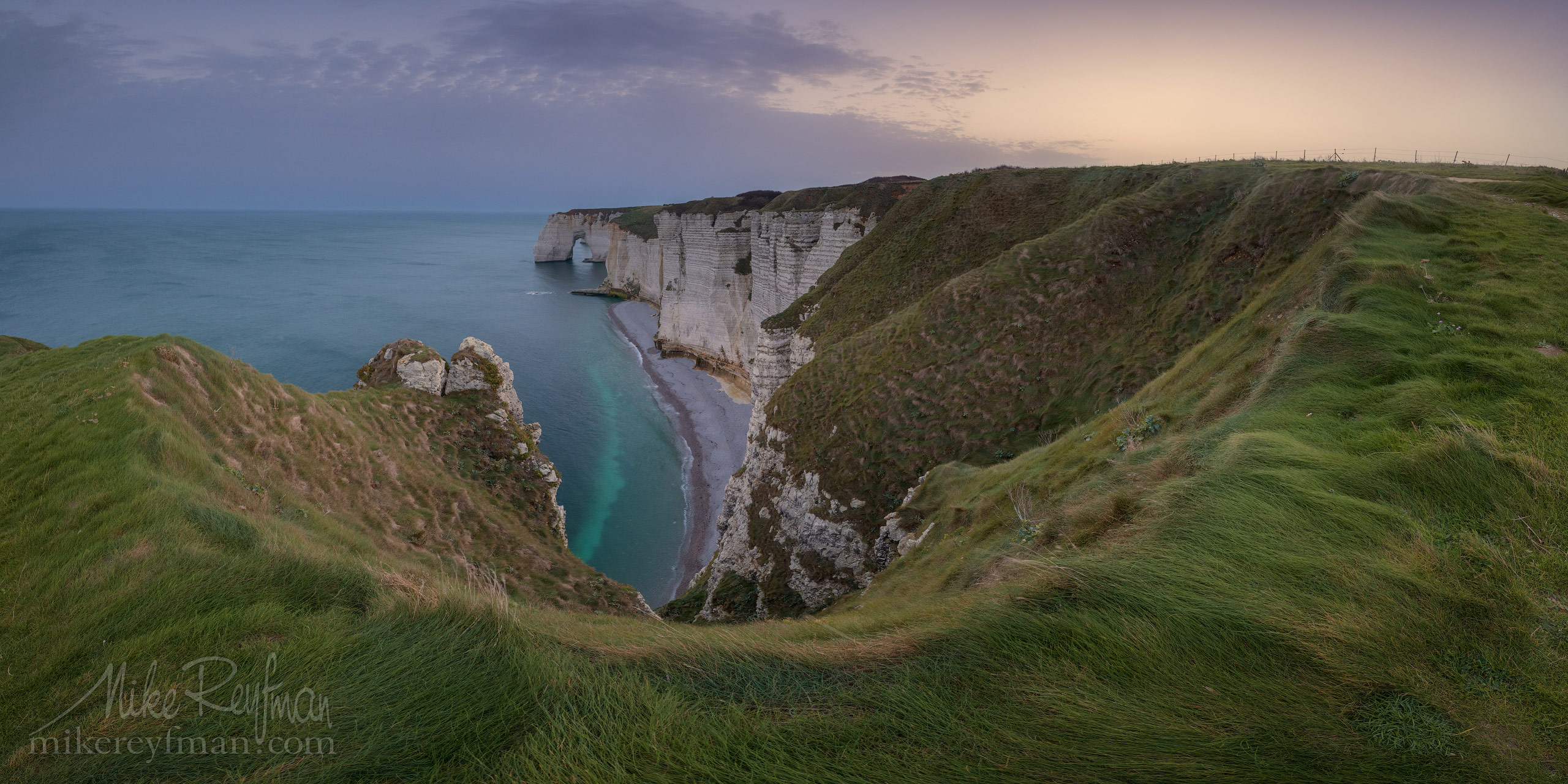 Manneporte Arch. Cote d'Albatre – The Alabaster Coast. Ertretat, Normandy, France ET1-MR50A0382 Pano: 2x1 - White Chalk Cliffs and Arches of Alabaster Coast. Etretat, Upper Normandy, France - Mike Reyfman Photography
